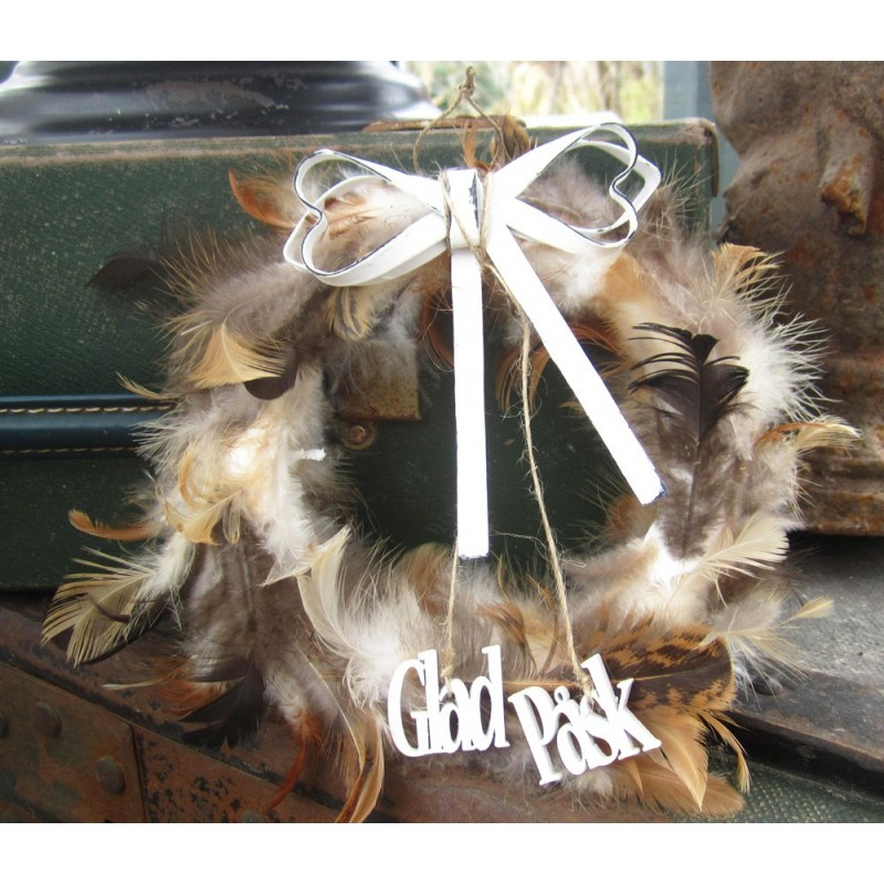 Fjäderkrans med rosett och Glad Påsk-hänge