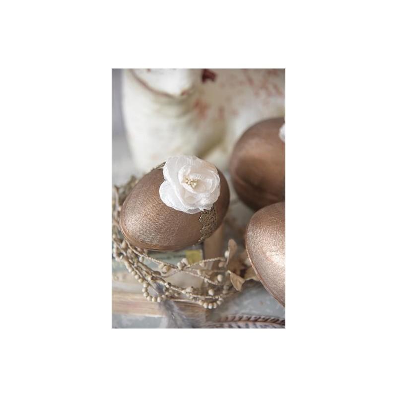 Vackert ägg i bronze med ros, stor