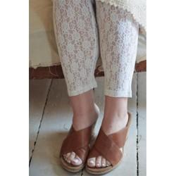 Söta leggings i blommigt spetsmönster i creme från JDL