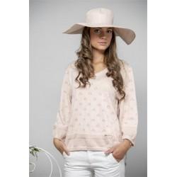 Rosa detaljrik tröja i bomull