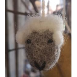 Sött fårhuvud i tovad ull