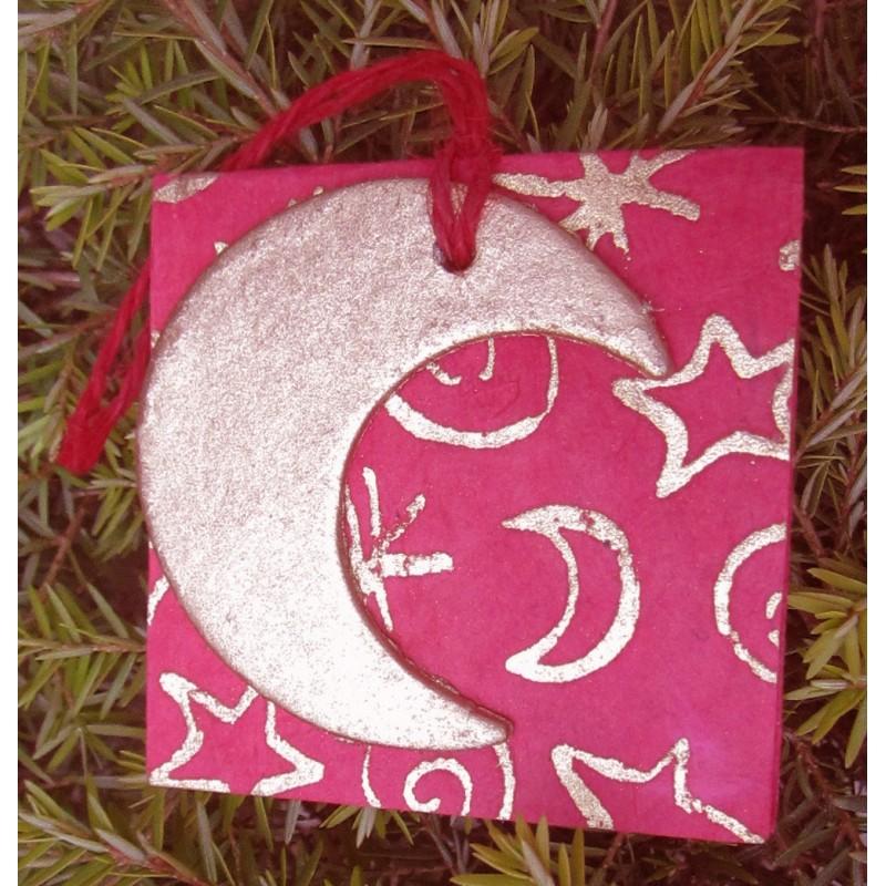 Julkort med månskära i guld